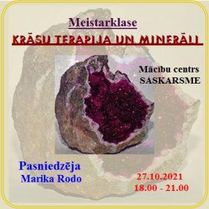 Meistarklase // 27.10.21//  *Krāsu terapija un minerāli* @ 25 €